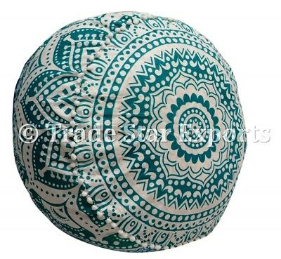 Indian Ombre Mandala Ottoman Pouf Cover Hippie Round Seating Pouf Floor Pouffe