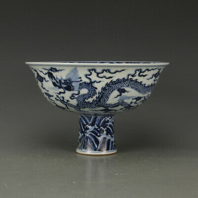 One Rare Chinese Ming Dynasty Blue&White Porcelain Dragon Bowl
