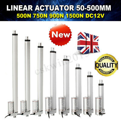 UK Linear Actuator 12V Electric Motor 500~1500N 50~300mm Solar Tracker Door Open