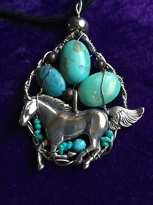 Navajo Large Sterling Silver Horse Turquoise Pendant