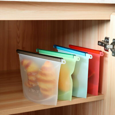 US 1Pc Silicone Food Storage Bag Freezer Reusable Seal Ziplock Vacuum