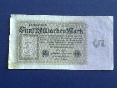 Germany - 5 Billion  Mark  Banknote 1923- Berlin-Inflation - Very Fine