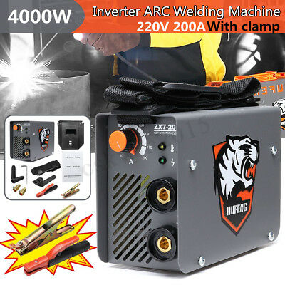 220V 4000W 4KW Electric Stick Welder Inverter ARC MMA IGBT Welding 10-200A Mask