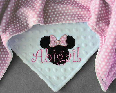 0317a2190f9a8 PERSONALIZED BABY BLANKET Minnie Mouse baby shower gift Cuddle Plush  HANDMADE