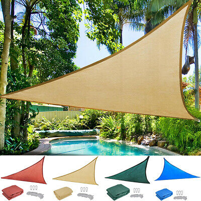 Sun Shade Sail Triangle Garden Patio Awning Canopy Sunscreen 98% UV Block 160GSM