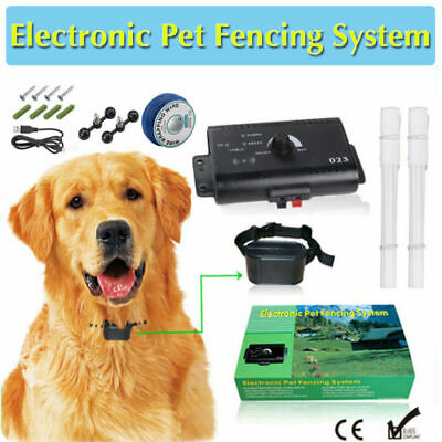 Dog Collar Pet Containment System Electric Shock Boundary Control Fence For 1/2