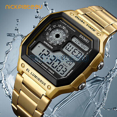 SKMEI Men's Stainless Steel LED Digital Sport Waterproof Quartz Wrist Watch UK