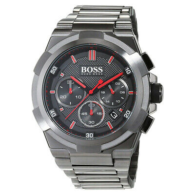 100% New Hugo Boss 1513361 Supernova Grey Dial Black Stainless Steel Men's Watch