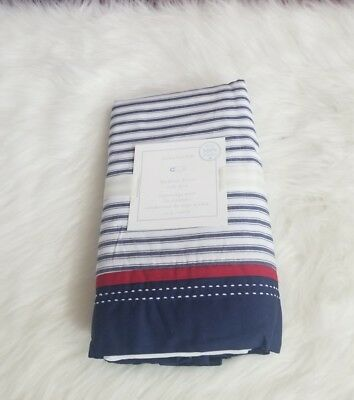 Pottery Barn Baby Backseat Driver Crib Skirt One Size Stripes Blue White Red