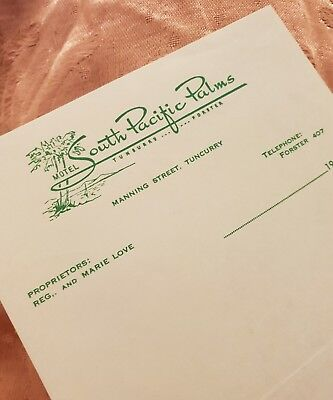 South Pacific Palms Motel, Tuncurry, Vintage Letterhead