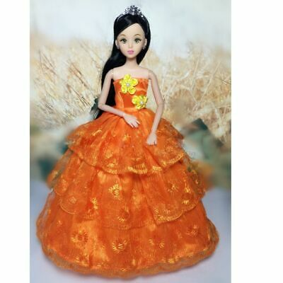 5 Pcs Set Girl Dolls Toys Party Dresses Gown Outfits Clothes Accessories Playset