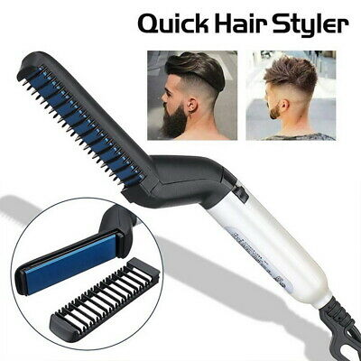 Quick Beard Straightener Multifunctional Hair Comb Curling Curler Show Cap Men E