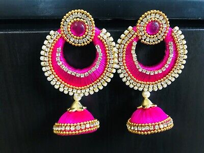 e5f061f6bff3c INDIAN DESIGNER EARRINGS Silk Thread Jewellery for Wedding Heavy Hot Pink  Jhumka