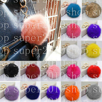 Big Huge 8cm Real Fur Fluffy Rex Rabbit Hair Pompom Ball Key Chain Clip 19colors