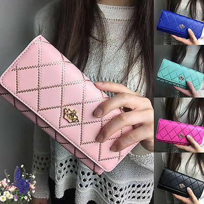 ALS_ Women Fashion Casual Clutch Long Purse Faux Leather Wallet Card Holder Hand