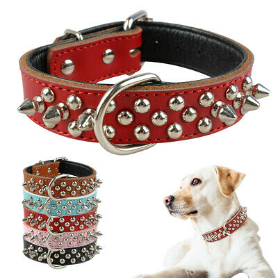 Studded Rivet Spiked Metal Dog Collar Faux Leather Collar for Pitbull Mastiff