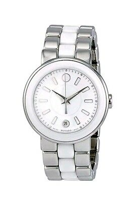 d868bd6af Movado Watch Cerena Ladies White Date Dial Ceramic Swiss 0606539 Womens $995