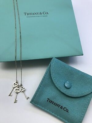 0363464fa TIFFANY & CO Silver Three 3 Key Necklace Pendant Charm Chain Classic ...