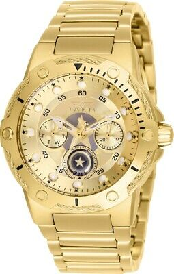 Invicta 26984 Marvel Women's Day-Date 24H 39mm Gold-Tone Captain America Watch