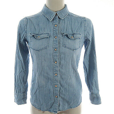 2f0ef185f0 Mossimo Supply Co L Large Shirt Chambray Jean Denim Top Womens Button Down  Blue