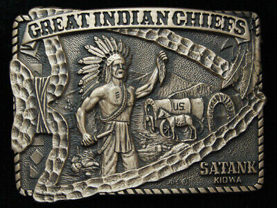 Pg15168 *Nos* Vintage 1983 **Great Indian Chiefs Satank** Solid Brass Buckle