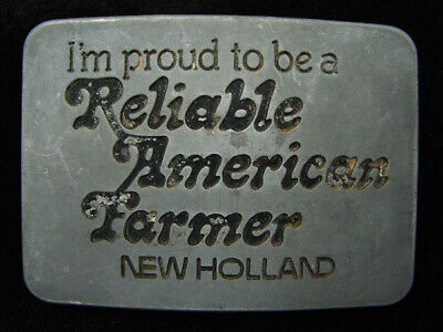 Qh09122 Vintage 1982 **New Holland Reliable American Farmer** Belt Buckle