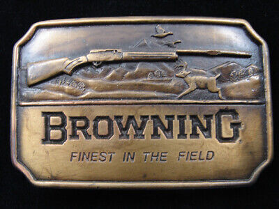 RD19124 *NOS* VINTAGE 1970s **BROWNING FINEST IN THE FIELD** GUN BELT BUCKLE