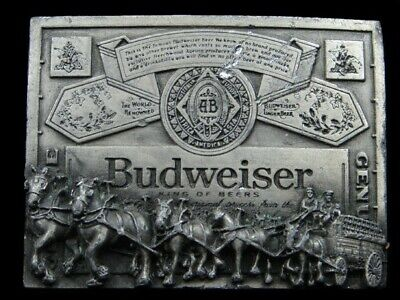 RK13105 VINTAGE 1970s **BUDWEISER KING OF BEERS (CLYDESDALES)** BELT BUCKLE