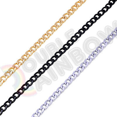 Men Stainless Steel Gold/Silver/Black 3mm-12mm Cuban Necklace Chain Link C08