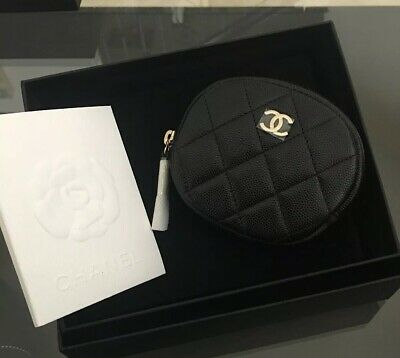 92d6f7fa9282 AUTH CHANEL BLACK Caviar Round Coin Purse Light Gold HW W Receipt ...