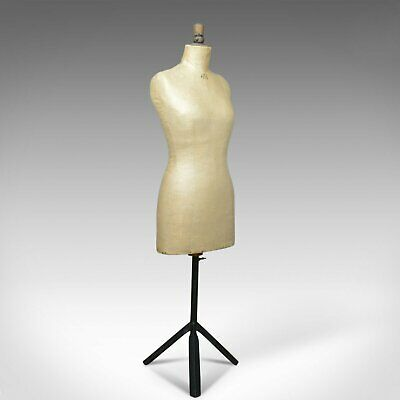 French Antique Dress Makers Dummy, Adjustable Height, Three-Quarter, c.1900