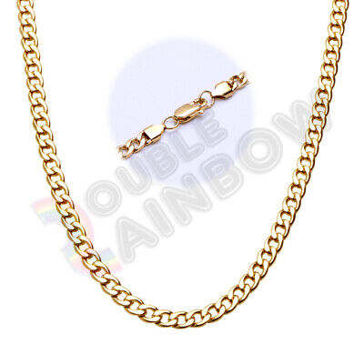 """Men's Stainless Steel Gold 3-10mm Cuban Curb Necklace Link 18-36"""" Chain C08"""