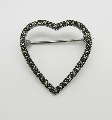 Vintage Marcasite Love Heart Brooch Pin Bp1369 925 Sterling Silver