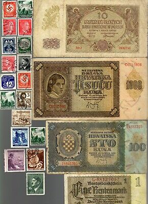 Nazi Germany And Occupied Europe Banknote, Coin And Stamp Set  # 47