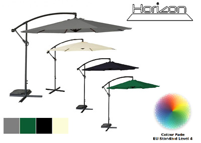 Horizon 3M Garden Banana Parasol Sun Shade Patio Hanging Umbrella Cantilever