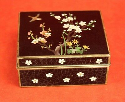 "Vintage Inaba Black Japanese Cloisonne 3½"" Hinged Box - Bird Design Silver"