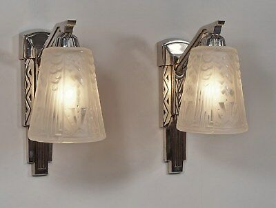1930's Pair French Art Deco Wall Sconces Lights Wth Swans Fgs 1920's Muller
