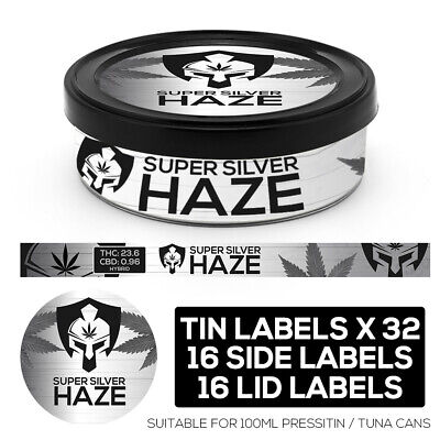 SUPER SILVER HAZE Cali pressitin Tin Labels Stickers RX Medical can HIGH QUALITY