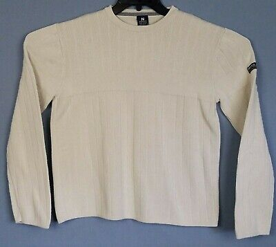 Nautica Jeans Sweater Mens S Cream Long Sleeve Crew Neck Cotton Pullover Knit