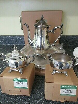 Vintage Wm. Rogers Silverplate 4 Piece Coffee Service Complete Set NOS