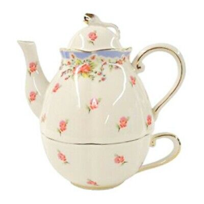 Graces Teaware Stacked Tea for One Teapot Cup Vintage Blue Calico Rose Tea Set