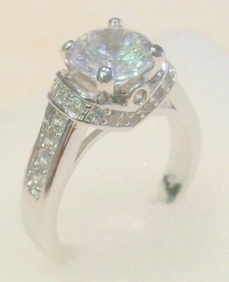 2 Ct Round Solitaire Diamond Promise Engagement ring White Gold platinum finish