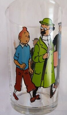 VERRE 1983- 10cm- Moutarde AMORA - HERGE TINTIN DUPOND-T HADDOCK TOURNESOL