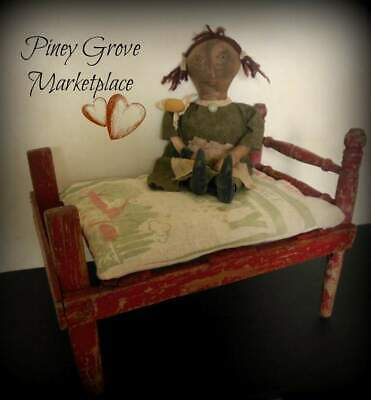 Antique Primitive Farmhouse Wooden Doll Bed Hand Made Chippy Red Paint