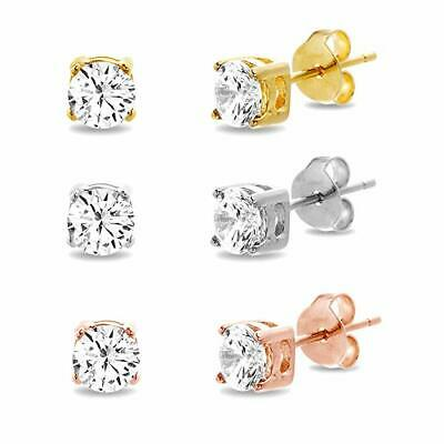 032271a3e Diamonique CZ Basket Round Stud Earrings 14K Rose Gold Clad Sterling Silver  925