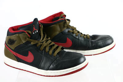 154136c4228ab Nike Air Jordan Retro 1 Phat Olive Black Red Leather Lace-Up Basketball  Shoes 11