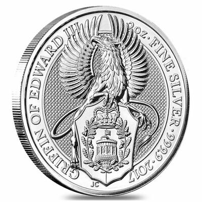 "2017 Great Britain 2 oz. Silver "" Queen's Beasts Griffin of Edward "" in Capsule"