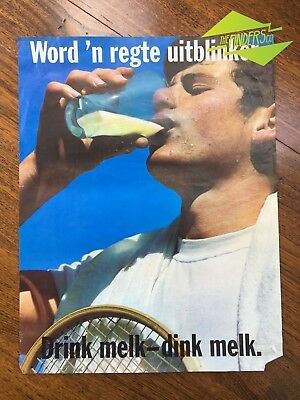 VINTAGE 1980s SOUTH AFRICAN MILK PROMOTIONAL ADVERTISING POSTER BY HORTORS #1