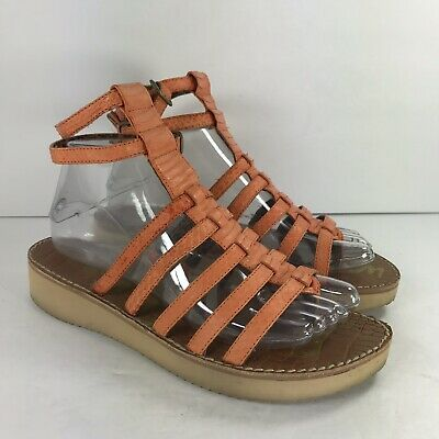 3733dfc4ae7b0e SAM EDELMAN Womens Size 8 Orange Strappy Gilda Gladiator Sandals Vibram