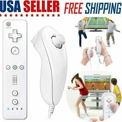 White Remote Wiimote Nunchuck Controller Set Combo for Nintendo Wii Game HD